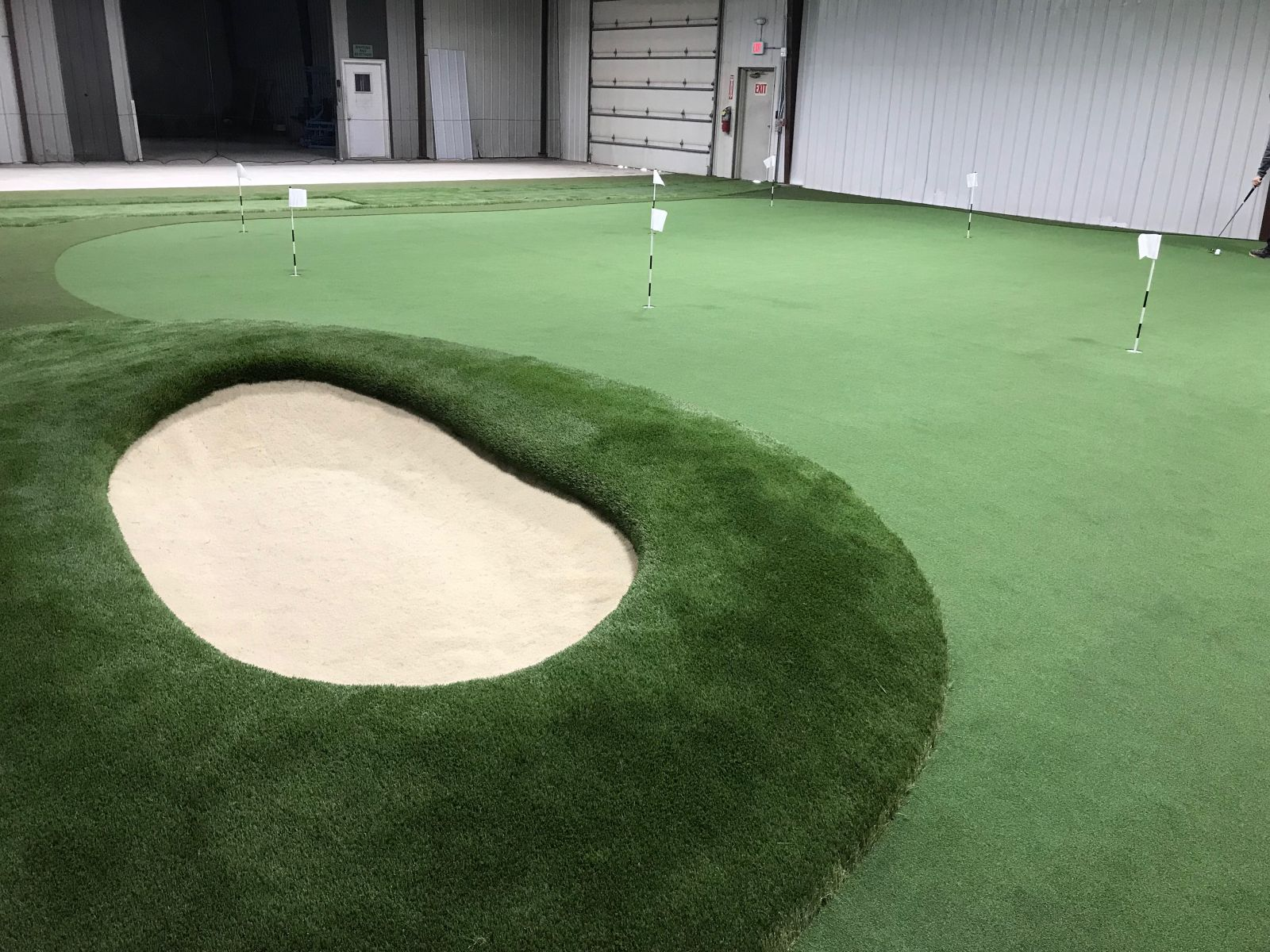 The new indoor putting area